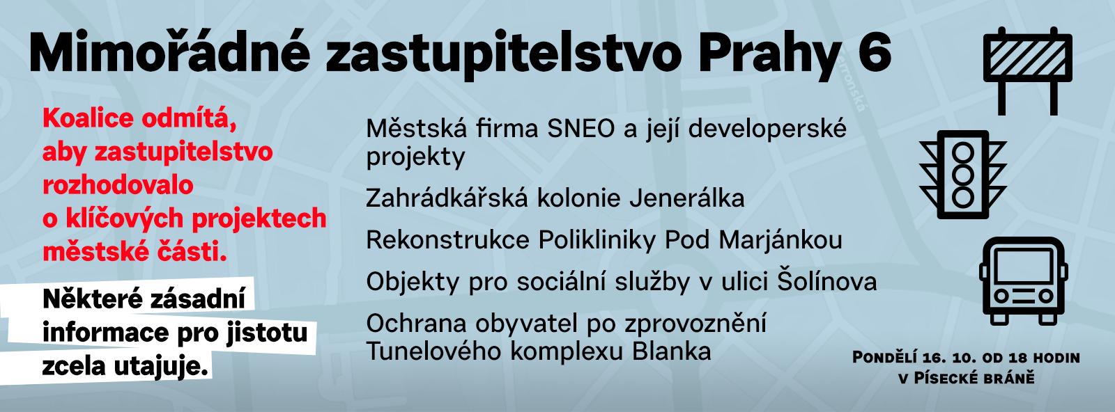 Mimořádné zasedání zastupitelstva Prahy 6